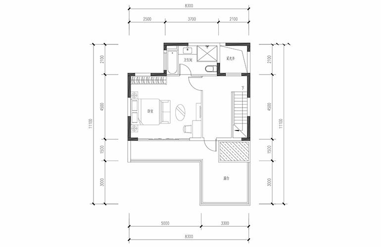 恒大养生谷 合院A户型四合三层 4室2厅3卫1厨 建面183.44㎡