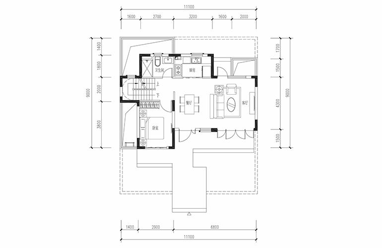 恒大养生谷 联排129户型一层 3室2厅3卫1厨 建面129.07㎡