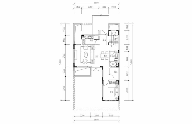 恒大养生谷 联排133户型一层 3室2厅3卫1厨 建面133.36㎡