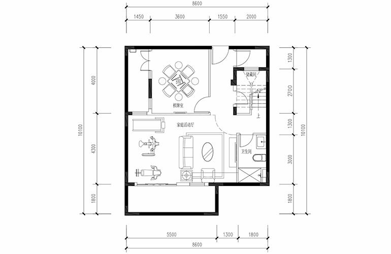 恒大养生谷 联排133户型地下一层 3室2厅3卫1厨 建面133.36㎡
