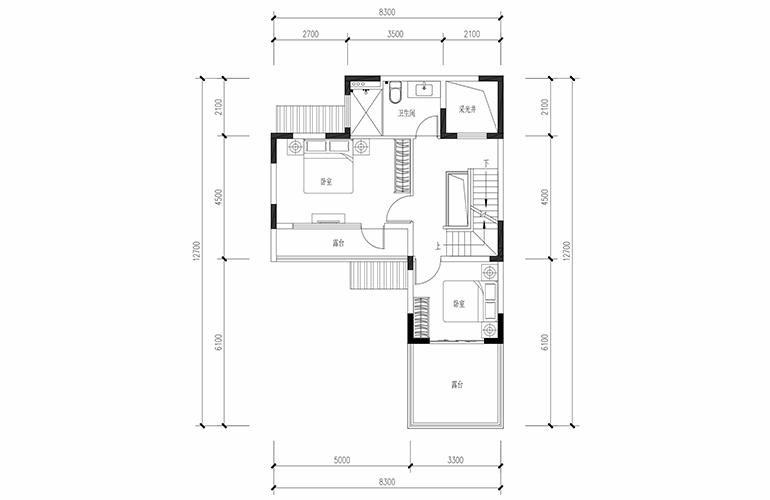 恒大养生谷 合院B户型四合二层 4室2厅3卫1厨 建面164.24㎡