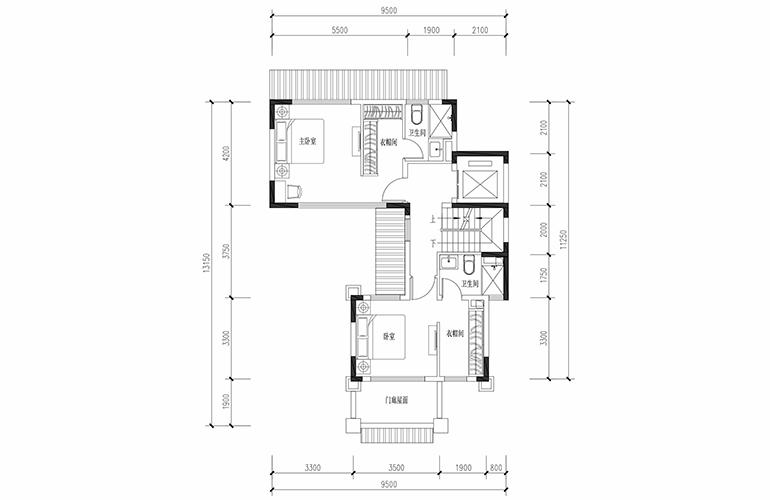 恒大养生谷 联排198户型二层 3室2厅4卫1厨 建面198.01㎡
