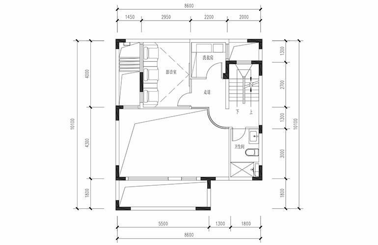 恒大养生谷 联排133户型夹层 3室2厅3卫1厨 建面133.36㎡