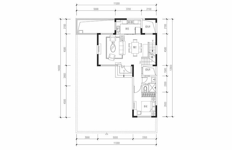 恒大养生谷 合院A户型四合一层 4室2厅3卫1厨 建面183.44㎡