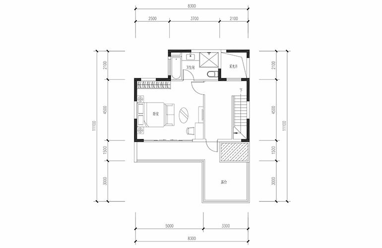 恒大养生谷 合院A户型六合三层 4室2厅3卫1厨 建面183.44㎡