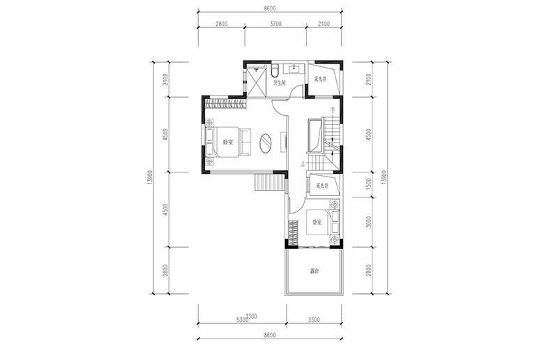 恒大养生谷 合院A1户型六合二层 4室2厅3卫1厨 建面183.44㎡