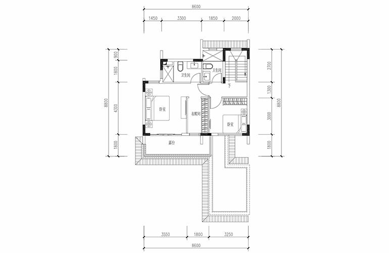 恒大养生谷 联排133户型二层 3室2厅3卫1厨 建面133.36㎡