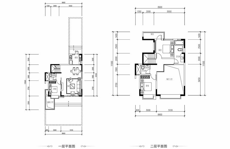 恒大养生谷 叠墅A户型上层 3室2厅3卫1厨 建面163.01㎡