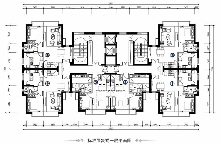 恒大养生谷 LOFT公寓标准层一层平面图 三居四居平面图 建面77-106㎡
