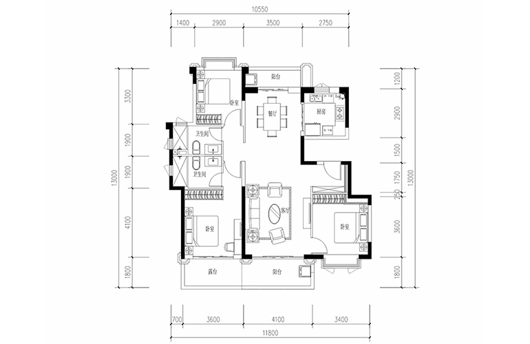恒大养生谷 花园洋房E1户型 3室2厅2卫1厨 建面128.45㎡