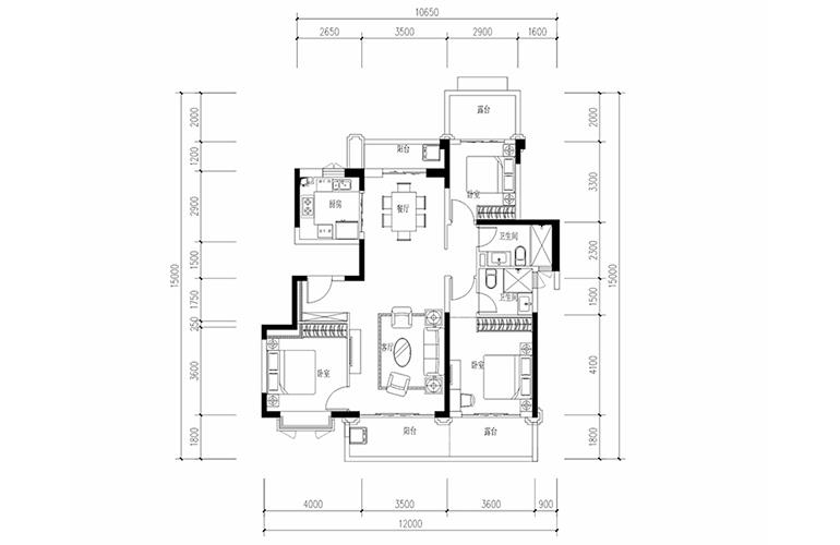 恒大养生谷 花园洋房C2户型 3室2厅2卫1厨 建面135.96㎡