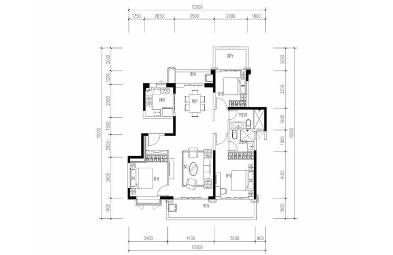 恒大养生谷 花园洋房D1′户型 3室2厅2卫1厨 建面133.55㎡