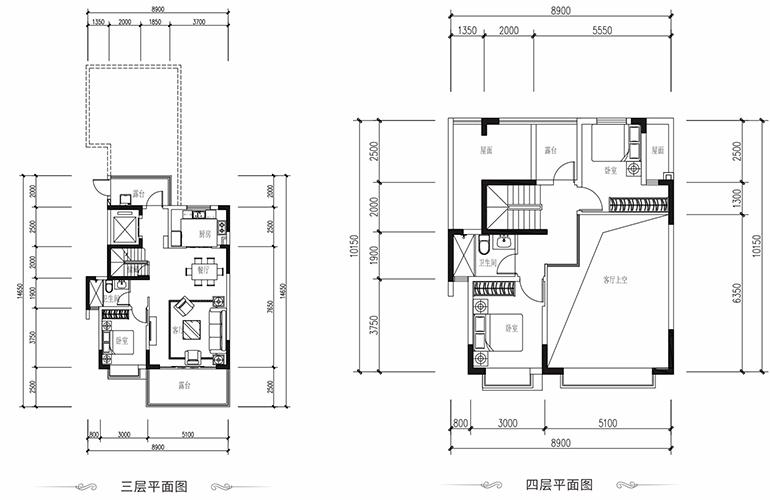恒大养生谷 叠墅B户型上层 3室2厅3卫1厨 建面139.5㎡