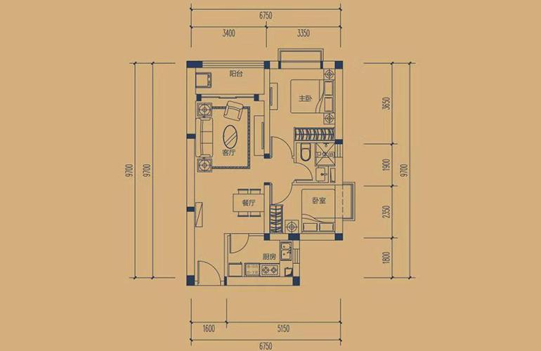 恒大养生谷 高层B户型 2室2厅1卫1厨 建面84.3㎡