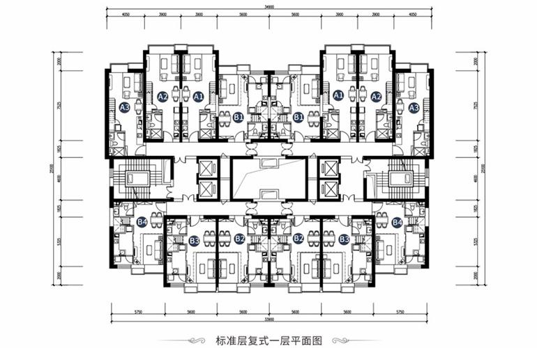 恒大养生谷 LOFT公寓标准层一层平面图 一居二居平面图 建面52-60㎡