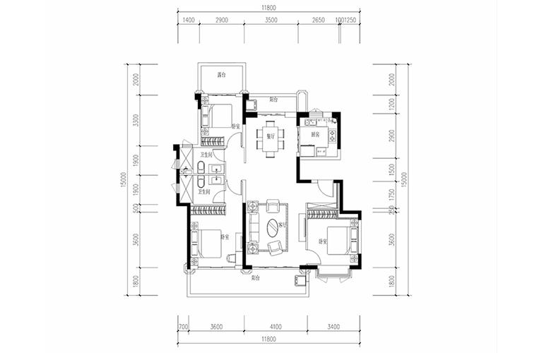 恒大养生谷 花园洋房D1户型 3室2厅2卫1厨 建面133.55㎡