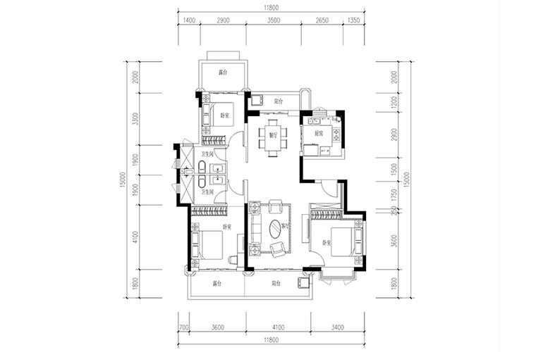 恒大养生谷 花园洋房C1户型 3室2厅2卫1厨 建面137.12㎡