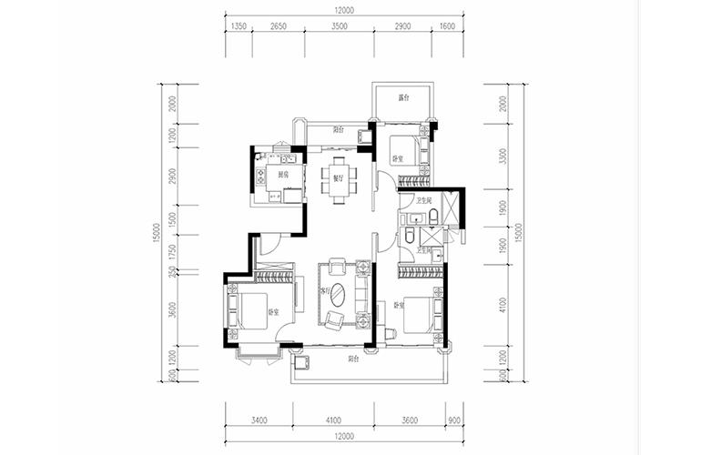 恒大养生谷 花园洋房D2户型 3室2厅2卫1厨 建面132.39㎡