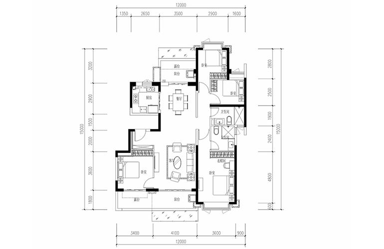 恒大养生谷 花园洋房B1′户型 4室2厅2卫1厨 建面146.1㎡