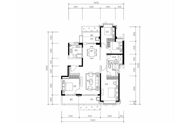 恒大养生谷 花园洋房B2户型 4室2厅2卫1厨 建面145.51㎡