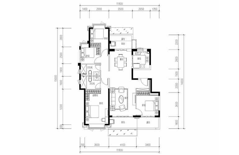 恒大养生谷 花园洋房B1户型 4室2厅2卫1厨 建面146.1㎡