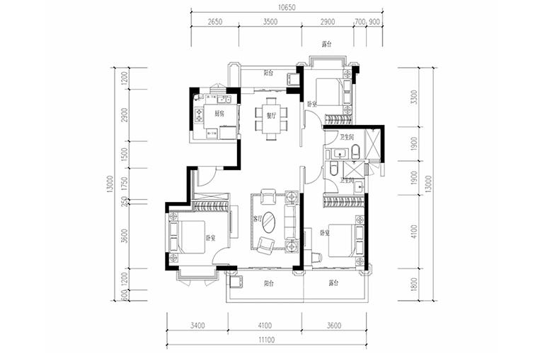 恒大养生谷 花园洋房E1′户型 3室2厅2卫1厨 建面128.45㎡