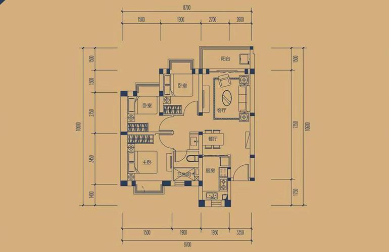 恒大养生谷 高层A户型 3室2厅1卫1厨 建面92.4㎡