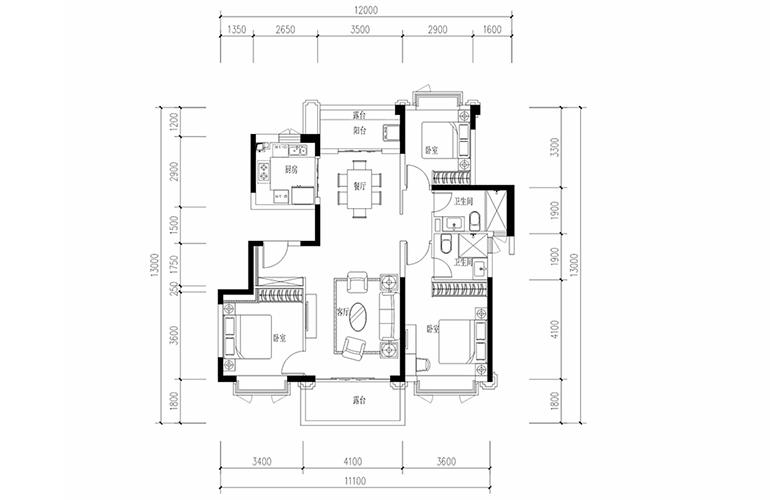 恒大养生谷 花园洋房F2户型 3室2厅2卫1厨 建面123.08㎡