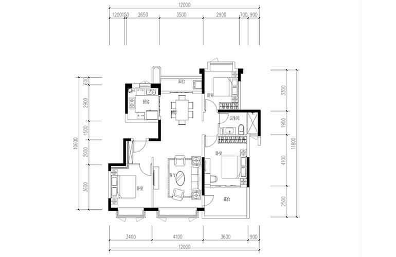 恒大养生谷 花园洋房G1′户型 3室2厅2卫1厨 建面114.76㎡