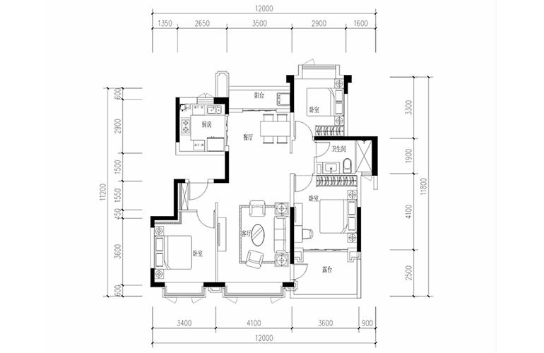 恒大养生谷 花园洋房G2户型 3室2厅2卫1厨 建面115.13㎡