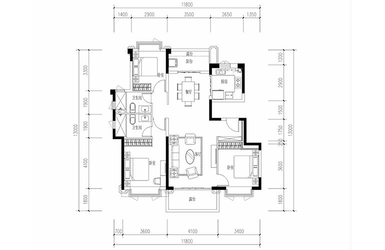 恒大养生谷 花园洋房F1′户型 3室2厅2卫1厨 建面124.16㎡