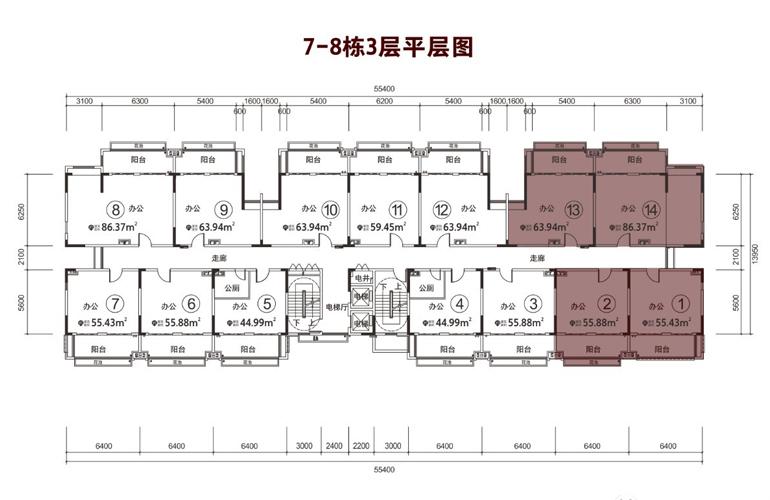 碧桂园雪茄风情小镇 7/8栋3层平层图