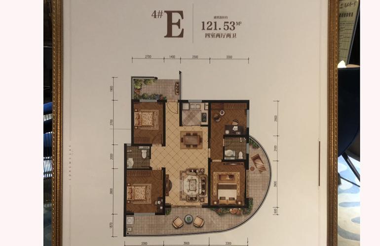 中国铁建·龙沐湾一号 4#E户型 四室两厅 建面约121.53㎡