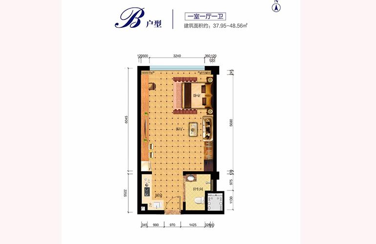 中国铁建·龙沐湾一号 公寓B户型 建面约37.95-48.56㎡