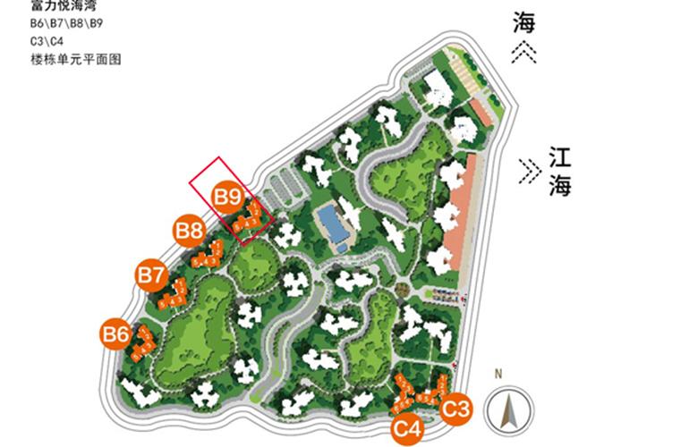 富力悦海湾 B9楼栋平面图