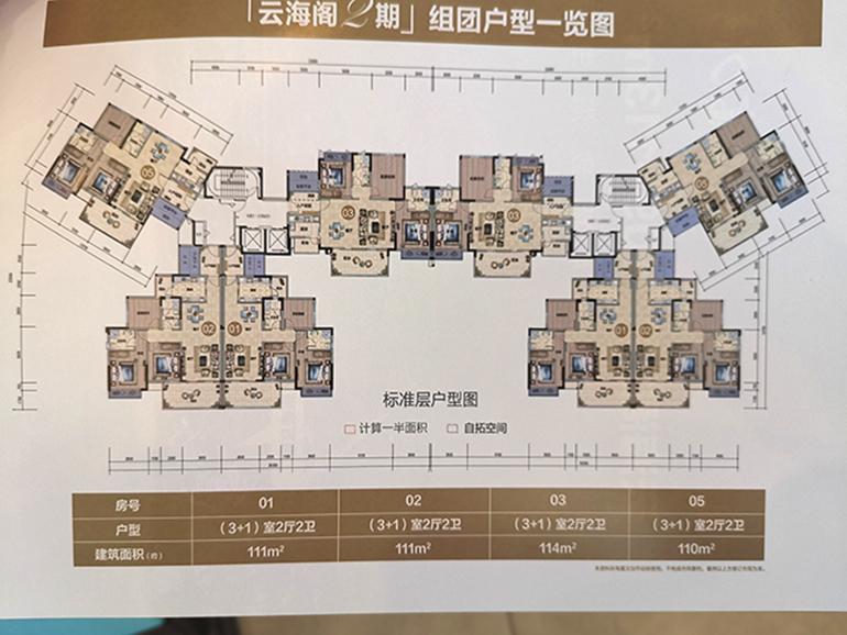 富力湾 Y区云海阁户型平面图