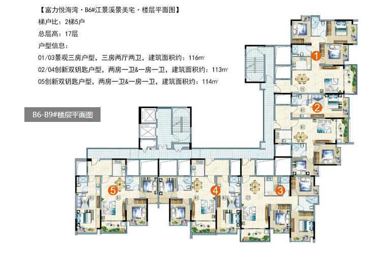 富力悦海湾 B6-B9#楼层平面图