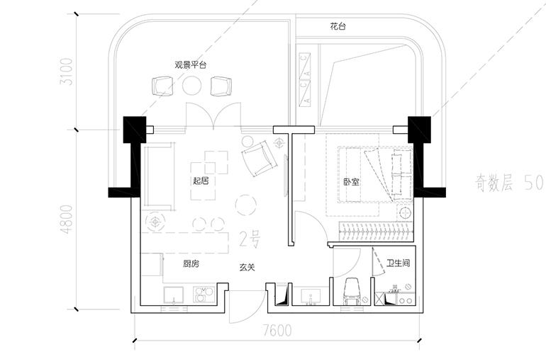 汉华天马山国际温泉度假区 A1-2户型 1室1厅1卫1厨 建面52.01㎡