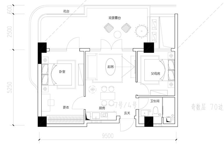 汉华天马山国际温泉度假区 A1-4、7户型 2室2厅1卫1厨 建面78.87-80.89㎡