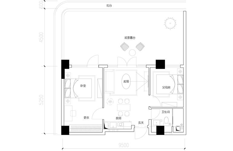 汉华天马山国际温泉度假区 七层4、7户型 2室2厅1卫1厨 建面82.02㎡