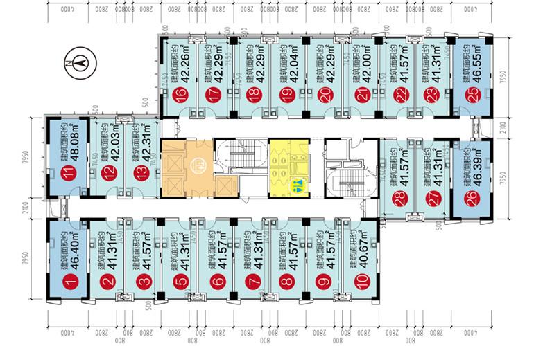 昆明融创文旅城 LOFT公寓楼层平面图