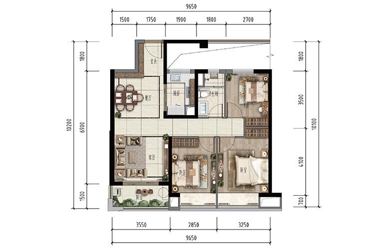 昆明融创文旅城 D户型 3室2厅2卫 建面127㎡