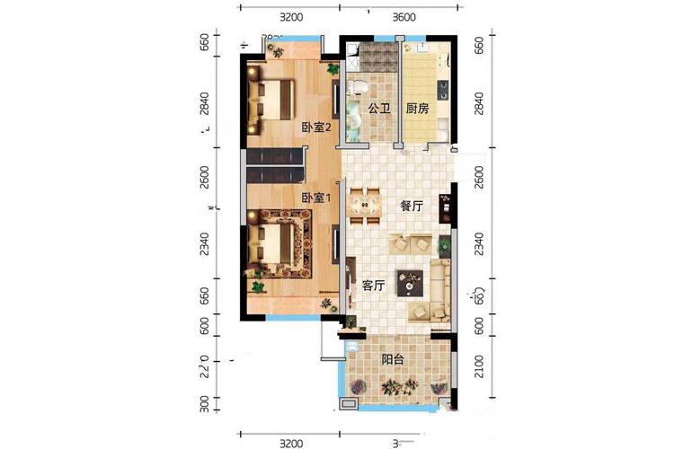 万宁国瑞城 D户型2室2厅1卫建面81㎡