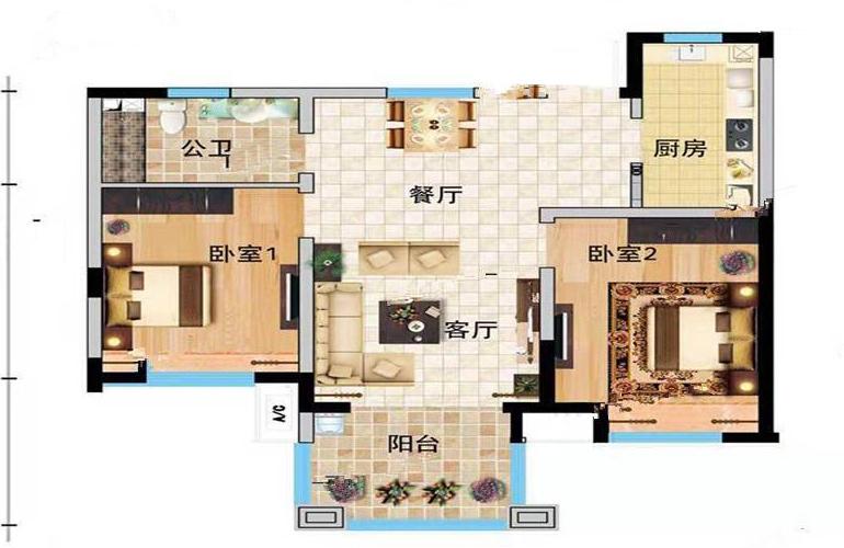 万宁国瑞城 E户型2室2厅1卫建面75㎡