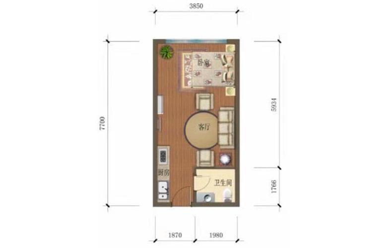 汇丰广场 801户型1室1厅1卫建面37㎡