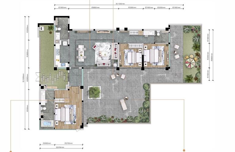 万科抚仙湖 平院B户型 3室2厅3卫1厨 建面126.67-128.99㎡