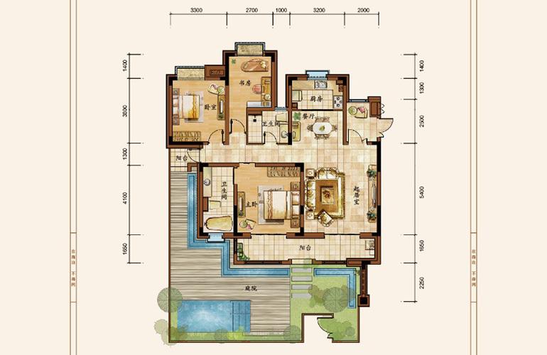 海阳城 洋房A户型 3室2厅2卫 建面130.30㎡