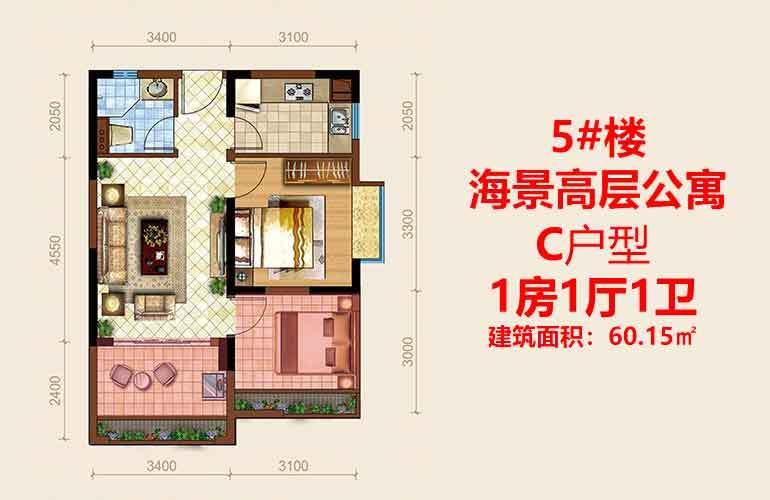 海阳城 C户型 1室1厅1卫 建面60.15㎡