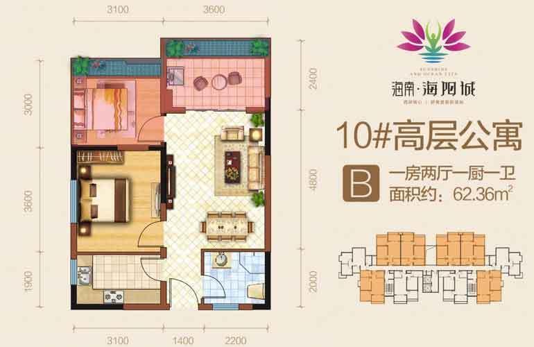海阳城 B户型 1室2厅1卫 建面62.36㎡