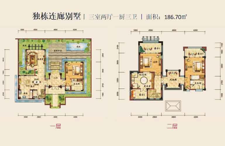 海阳城 独栋连廊别墅 3室2厅3卫 建面186.7㎡